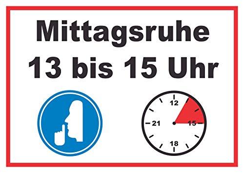 HB-Druck Mittagsruhe 13 bis 15 Uhr Schild A4 (210x297mm)