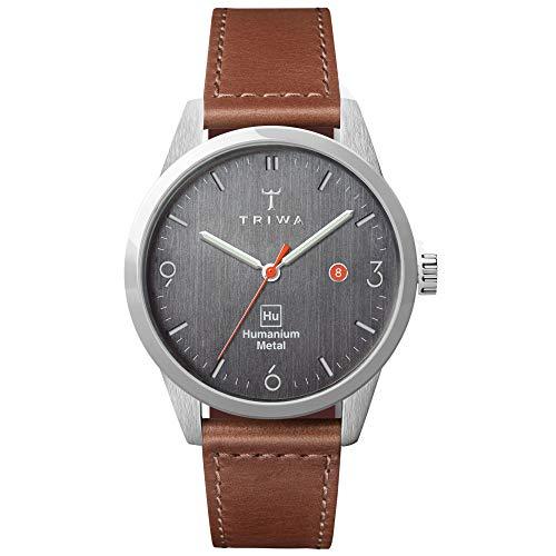 TRIWA HU39D Herren Minimalistische Casual Armbanduhr - Analog Armbanduhren für Männer, 39mm 39 mm Braun genäht