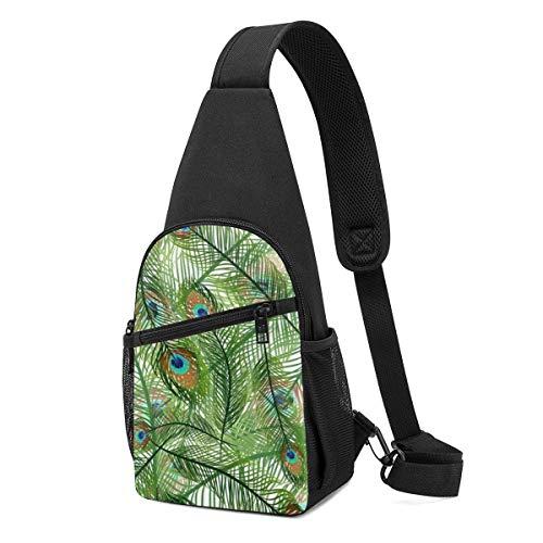 AOOEDM Schultertaschen für Jungen Crossbody Rucksack Pfauenfedern Green Shoulder Daypacks Mehrzweck Angeln Faltenresistenz Fanny Brustpackungen