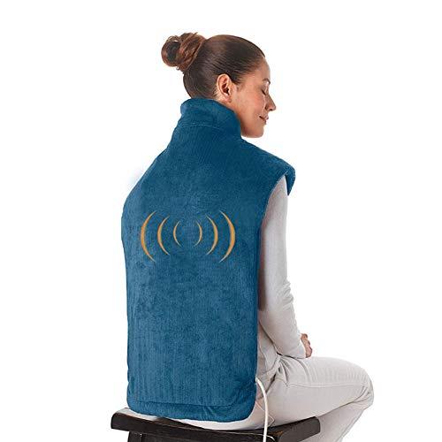 Elektrischer Heizungs-Schal, Extralange Massierende Hitze-Verpackungs-Haushalts-Massager, Flanell-Entlastung Wrap-Hals-Schulter-Rücken-Muskel-Schmerzlinderungs-Auflage,Blue