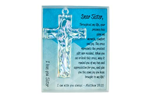 Keepsake Cross for Sister with Poem and Verse