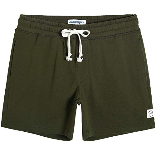maamgic Mens Athletic Gym Shorts 5.5' Elastic Waist Casual Pajama Pocket Jogger Men Workout Short Pants Army Green