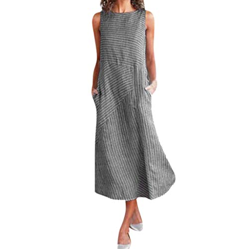 Women Vintage Linen Dresses Casual Loose Crew Neck Striped Sleeveless Long Dress with Pocket