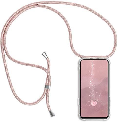 Handykette kompatibel mit Samsung Galaxy A51, Handyhülle Smartphone Necklace Hülle mit Band Schutzhülle Kordel zum Umhängen Transparent Weich TPU Silikon Tasche, Rosé Gold