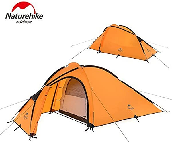 K&E Online Shop K & E Boutique en ligne 3Saison 2–3personnes Double couche imperméable Tente avec un salon (210t Orange)