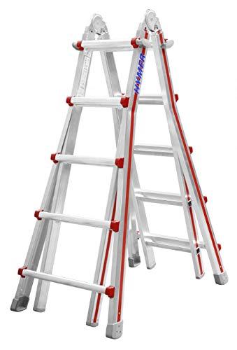 Hymer Teleskopleiter 4x5 Stufen (max. Höhe 4,10 Meter als Anlegeleiter, für Treppenstellung geeignet) 404220