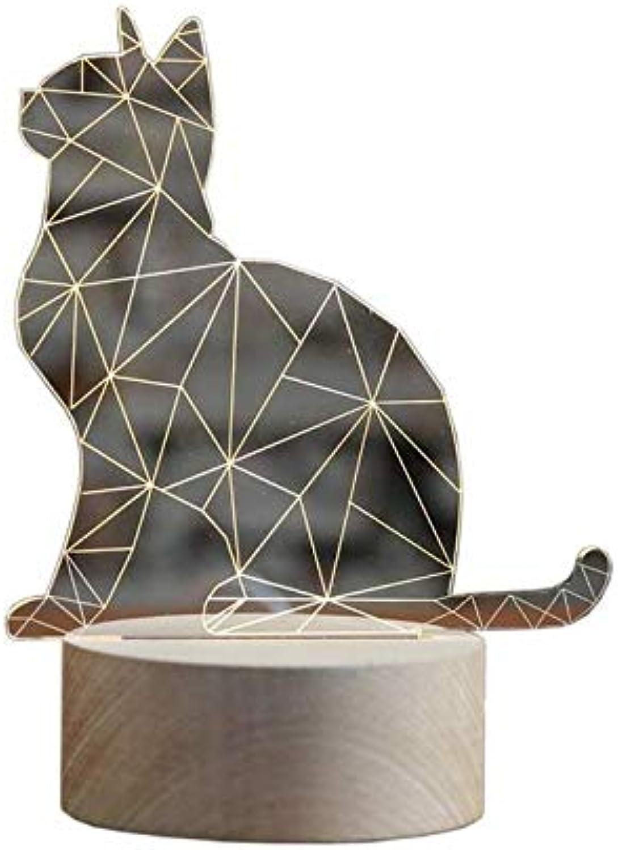 Chandelierled Nightlight With Kitten Designed Lamp Body & Beech Wooden Lamp Base For Decoration, Bedside, Living Room, Gift