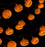 Halloween String Lights, LED Pumpkin Lights Holiday Lights with 2 Modes Steady on/Flash for Halloween Indoor Outdoor Decorations (20 LED Lights, 9.8 FT String)