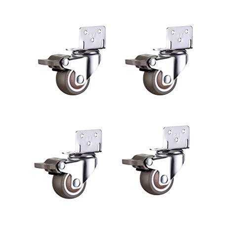 Ruedas silenciosas en forma de L de 4 piezas, ruedas giratorias de goma con freno, para muebles, mesa, carro, cuna, ruedas, gabinete de cocina (50mm)