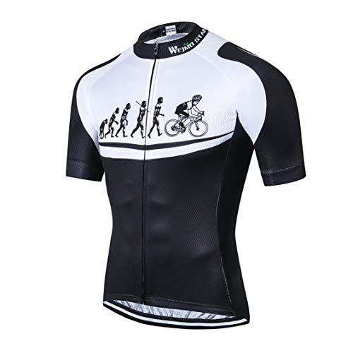 Weimostar Maglia MTB da Uomo Ciclismo Manica Corta Bici da Montagna Abbigliamento da Strada Maglietta da Bicicletta Maglietta da Ciclismo Maglia Nera L