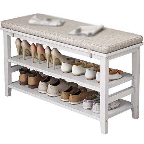 JXJ Banco Organizador de Zapatos El Taburete de Madera Maciza para Cambiar Zapatos es un gabinete de Zapatos geométrico Simple con un cojín Suave Estante de Almacenamiento de Dos Niveles para el