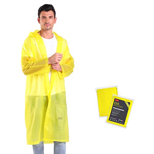 ANTVEE Reusable 2 Pack Raincoats for Adults with Hoods and Sleeves, 0.15mm Durable and Lightweight, EVA Material Non-Toxic No Plastic Smell