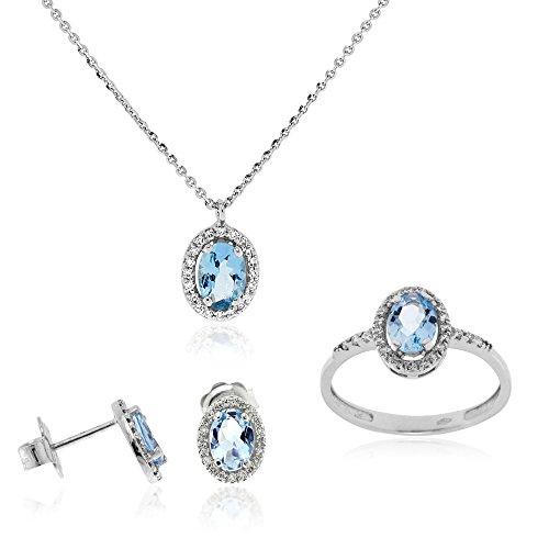 Gioiello Italiano - Joyas de oro blanco de 18 quilates con aguamarina de 2,37 quilates y diamantes de 0,65 quilates, collar, pendientes y anillo, para mujeres