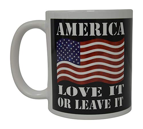 N\A Bandera patriótica de los EE. UU. Taza de café Divertida Taza de la Novedad Regalo América Ámela o déjalo