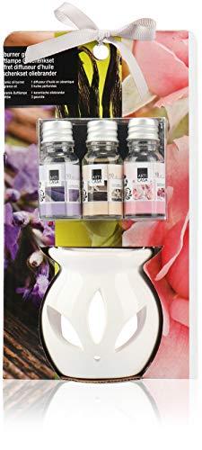 com-four® 4-teiliges Duft Geschenkset mit Stövchen - Duftlampe aus Keramik - Aroma Set für angenehmen Raumduft (4-teilig - Vanille. Lavendel. Rose)