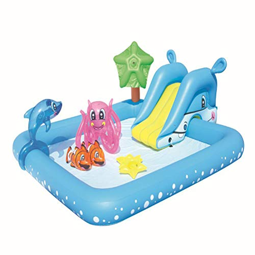 ACEWD Inflatable Pool for Kids with Slide, Inflatable Swimming Pool, Water Games Centre with Slide, for Baby, Kiddie