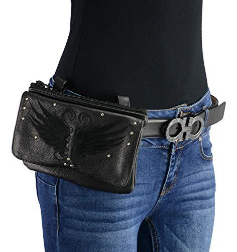 Milwaukee Leather MP8850 Ladies 'Winged' Black Leather Multi-Pocket Belt Bag - One Size