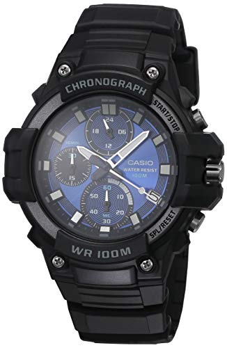 Casio Men's Blue Dial Quartz Resin Strap, Black, 24.9 Casual Watch (Model: MCW-110H-2A2VCF)
