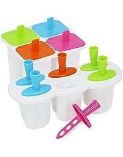 COM-FOUR® ijsvormpjes in verschillende kleuren en maten, ijsvormpjes voor ijslolly's, herbruikbare ijsvormpjes