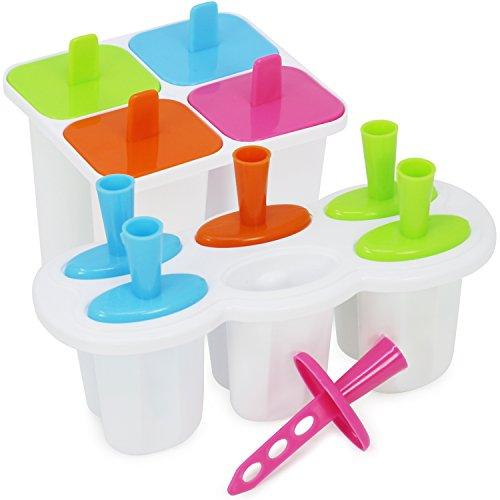 com-four® Eisform für Eis am Stiel - Wassereeis Formen für zehn Portionen - Eisförmchen für Stieleis - Eis am Stiel Bereiter (10x Eisform 45ml + 50ml)