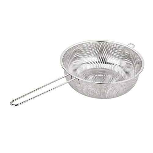 Fenteer Stainless Steel Perforated Metal Colander Strainer with Long Handles for Spaghetti, Pasta, Berry, Rust Free & Dishwasher Safe, Silver - Silver, 22.5cm