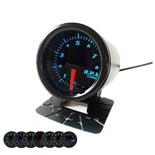 2' Tachometer 52mm Tacho Gauge 7 Color Tinted Meter 0~8000 RPM Smoke Face 12 V