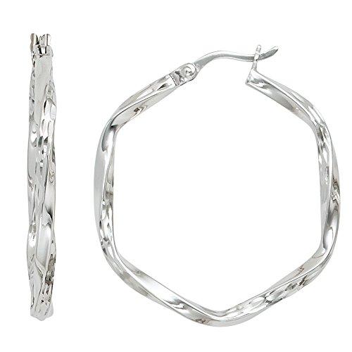 Creolen sechseckig 925 Sterling Silber rhodiniert diamantiert Ohrringe silber