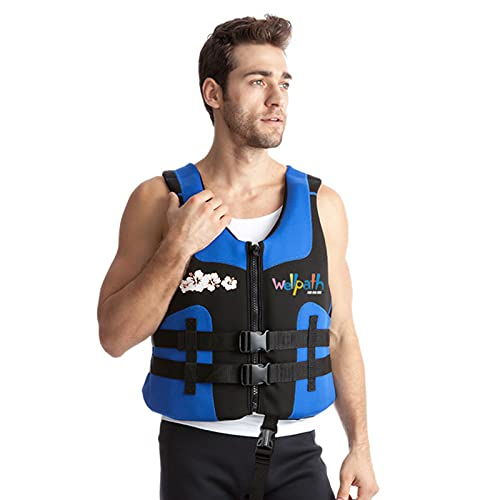 Q-YR Chaleco De Natación Chaleco Salvavidas Adultos Snorkeling Chaleco De Natación con Gran Flotabilidad Ajustable para Lancha, Buceo, Crucero,Azul,XXL