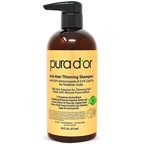PURA D'OR MD Anti-Hair Thinning Shampoo w/ 0.5% Coal Tar, Biotin & 19+ Herbal Blend Shampoo...