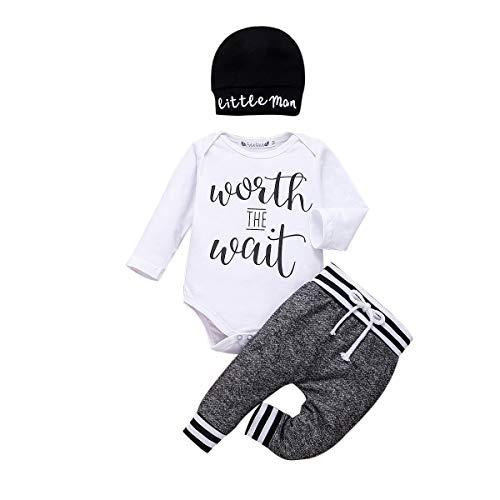 Geagodelia - Conjunto de ropa para recién nacido, 3 piezas, diseño de letra estampada + pantalón + sombrero blanco 0-3 Meses