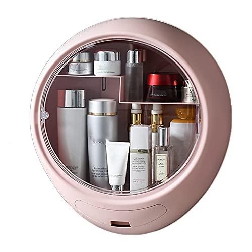 ZR&YW Organizador De Maquillaje De Pared, Organizador De Cuidado De La Piel, Caja De Almacenamiento De Cosméticos De Gran Capacidad Impermeable A Prueba De Polvo para Cómoda, Dormitorio, Baño,Rosado