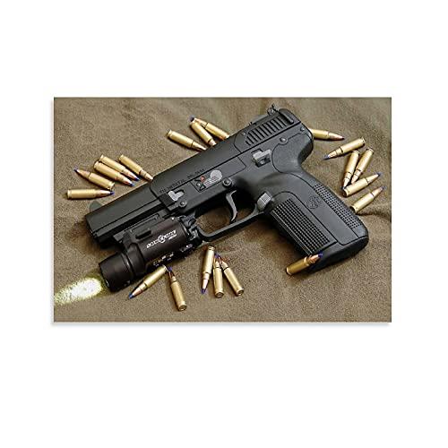 QWDAS FN Five-seveN Pistol War - Marco de fotos para sala de películas y fotos de 40 x 60 cm