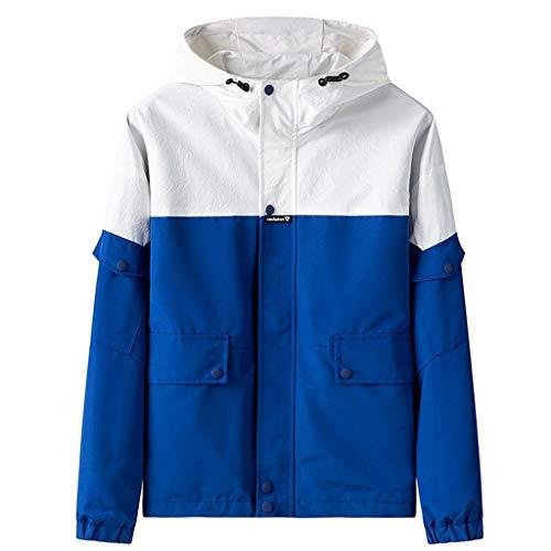 HDUFGJ Herren Nähen Jacken Übergangsjacken Stehkragen Mantel Tops Kapuzenpullover Shirt Mantel Kapuzenpullover V-Neck Knit Slim fit Halfzip3XL(Blau)