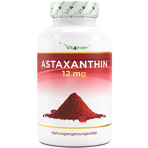 Astaxantina 12 mg Depot - 150 cápsulas de gelatina blanda (suministro para 10 meses) - De microalgas Haematococcus Pluvialis puras - Biodisponibilidad optimizada con vitamina E y aceite de oliva