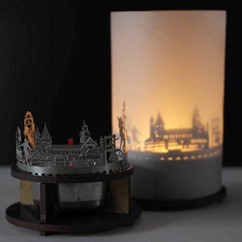 13gramm Mainz-Skyline Windlicht Schattenspiel Premium Geschenk-Box Souvenir, inkl. Kerzenhalter, Kerze, Projektionsschirm und Teelicht
