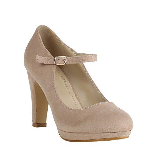 Damen Schuhe Plateau Pumps Lack Spangenpumps High Heels Blockabsatz 157224 Creme Brito 41 Flandell