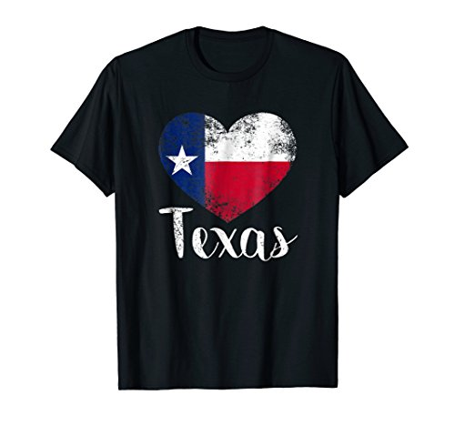 Texas United States Vintage State Flag in Heart T shirt