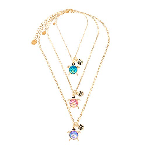 Claire s Girl s Best Friends Holographic Turtle Pendant Necklaces - 3 Pack