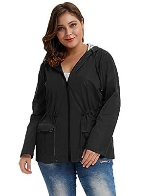 Women's Plus Size Raincoat Rain Jacket Lightweight Waterproof Coat Jacket Windbreaker Black 4X