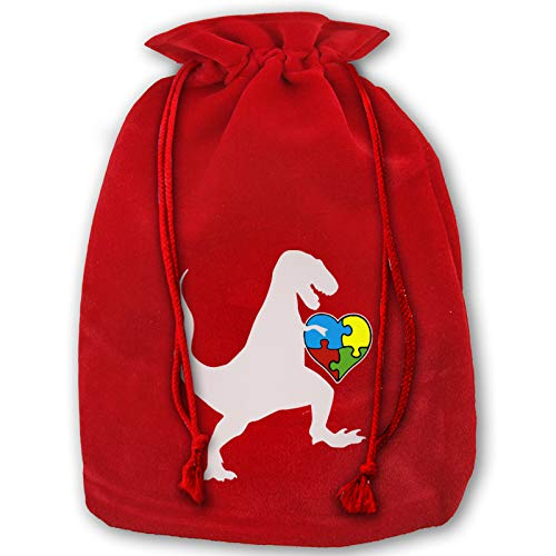 Autism Au Saurus Heart Puzzle Love Autism Awareness Reusable Velvet Grocery Bags For Party With Gifts
