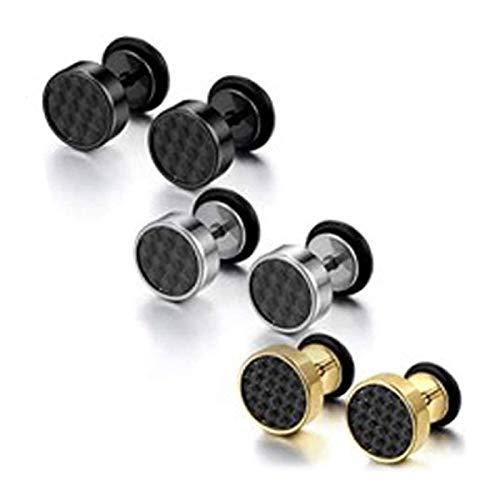 JZZJ - Juego de 3 pares de pendientes de acero inoxidable de imitación de dilataciones para la oreja para hombre(-)
