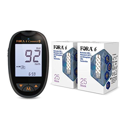 ForaCare Blutzuckermessgerät (mg/dl) set mit 25 Stück, einzeln verpackt Blutzucker-, Hämatokrit- und Hämoglobin-Teststreifen (3-in-1: BG, HCT, HB)*2
