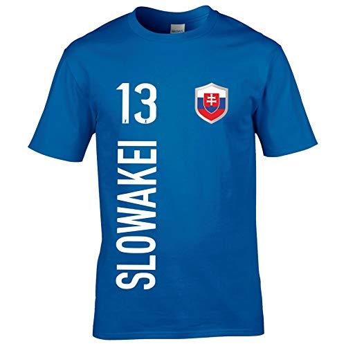 FanShirts4u Kinder Fanshirt Trikot Jersey SLOWAKEI Slovakia Slovensko T-Shirt inkl. Druck Wunschname u. Wunschnummer EM WM (7/8 Jahre 122-128 cm, SLOWAKEI/Blau)