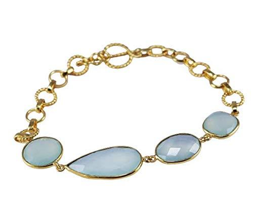 925 Sterling Silver Aqua Chalcedony Gemstone Gold Plated 10 gms 8 inch Bracelet Fine Silver Jewelry Crystalcraftindia