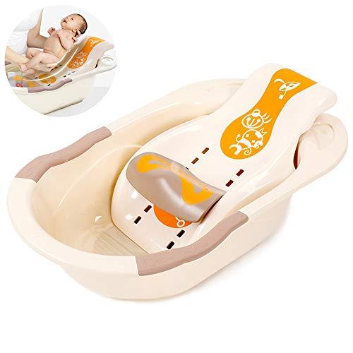 WYZQQ 2080/5000 Badkamerstoel voor kinderen, grote badkuip voor baby – kantelbaar, zitbaar, verstelbare badkuip voor baby – met thermische sticker