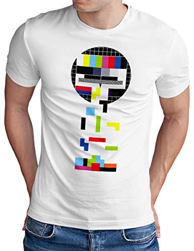 OM3® Testbild-Tetris T-Shirt - Herren - Video Game Analog Fernseher TV - Weiß, XL