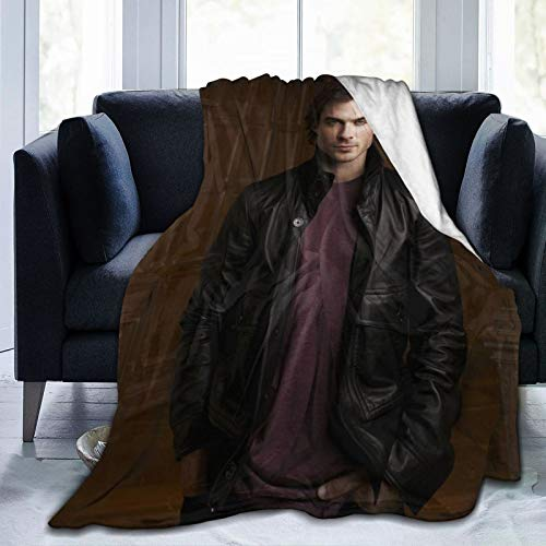 wteqofy Damon Salvatore Fleece Blanket Super Soft Large Lightweight Cozy Sofa Bed Throw Flannel