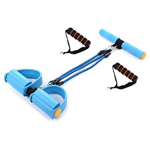 grofitness Pedal Widerstand Bands Bauch Trainer Body Trimmer Brust Expander Sit-Up Ziehen Seil, blau