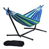 Hammock with Steel Stand, Brazilian-Style Cotton Adjustable Hammock Bed Includes Portable Carrying Bag for Camping & Outdoors or Gardens and Travel
