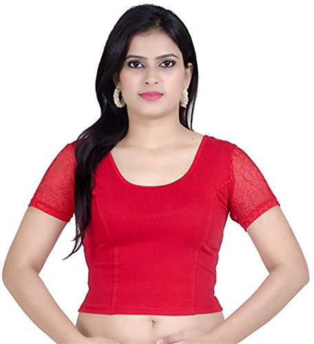 Fressia Fabrics Cotton Bustier Saree Blouse (ch100_red Free Size)